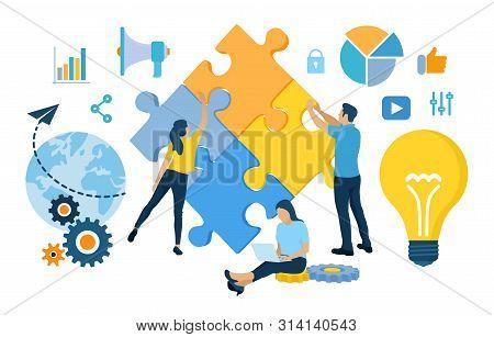 Teamwork Concept. People Connecting Puzzle Elements. Business Team. Symbol Of Teamwork, Cooperation,
