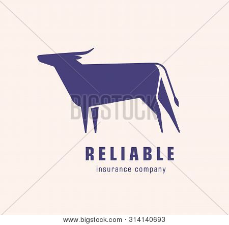 Logotype With Silhouette Of Bull Or Ox. Logo With Elegant Bovine Herbivorous Animal. Design Element