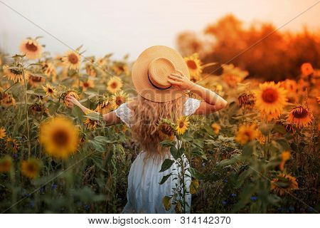 Beautiful Curly Young Woman In A Sunflower Field Holding A Wicker Hat. Portrait Of A Young Woman In