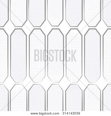 Hand Drawn Polygon Shapes With Varied Waffle Textures In Tinted Greys. Seamless Geometric Vector Pat