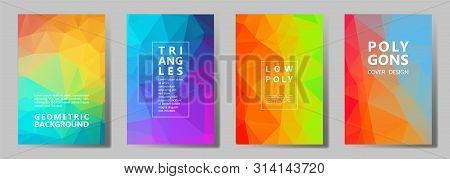 Facet Polygonal Simple Brochure Covers Vector Graphic Design Set. Diamond Texture Low Poly Patterns.