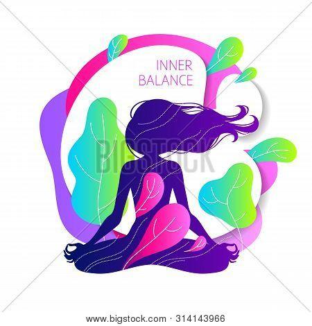Meditating Woman In Lotus Pose. Colorful Yoga Vector Illustration. Inner Balance Concept.