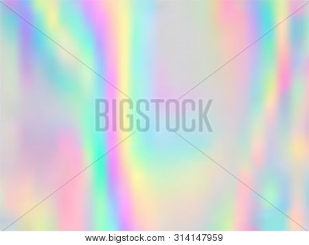 Holographic Gradient Neon Vector Illustration. Vivid Pastel Rainbow Unicorn Background. Polar Lights