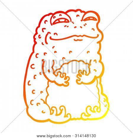 warm gradient line drawing of a cartoon smug toad