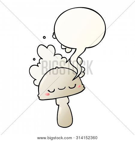 cartoon mushroom with spoor cloud with speech bubble in smooth gradient style
