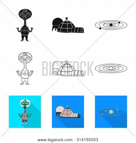 Vector Illustration Of Astronomy And Technology Icon. Set Of Astronomy And Sky Vector Icon For Stock