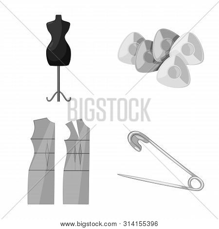 Vector Design Of Dressmaking And Textile Sign. Set Of Dressmaking And Handcraft Stock Symbol For Web