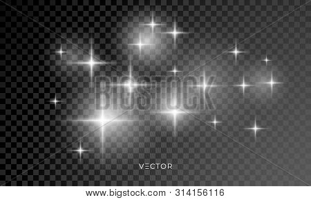 Star Light Shine Glow, Vector Sparks With Lens Flare Effect. Isolated Starlight And Shiny Star Rays