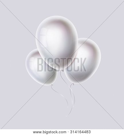 White Color Balloons Bunch. Realistic Pearl, Glossy And Shiny Helium Ballon For Birthday, Party, Wed