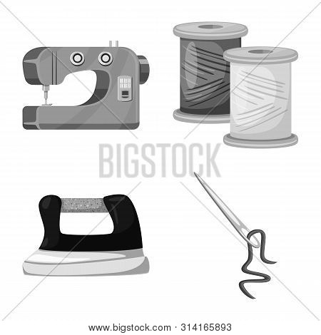 Isolated Object Of Dressmaking And Textile Sign. Set Of Dressmaking And Handcraft Vector Icon For St