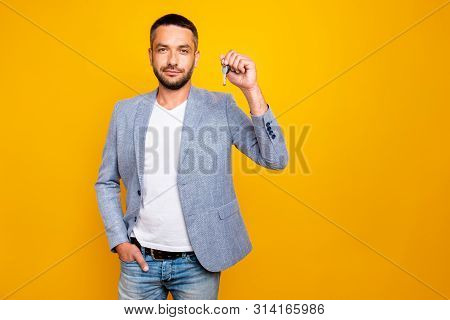 Portrait Of His He Nice-looking Attractive Content Guy Wearing Grey Blazer Holding In Hand Showing K