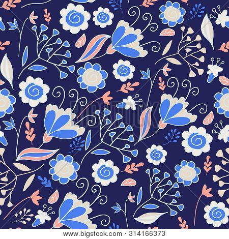 Elegant Seamless Pattern With Flowers. Floral Pattern For Fabric And Prints.