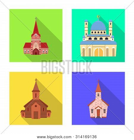 Isolated object of cult and temple logo. Set of cult and parish vector icon for stock. poster