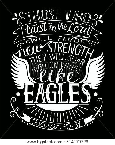 Hand Lettering With Bible Verse Trust In The Lord Will Find New Strength.