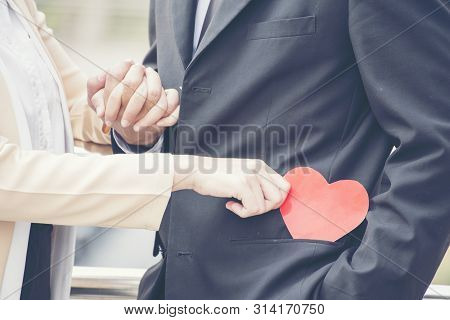 Businesswoman Fall In Love With Ceo. Love In The Office. Loving Concept