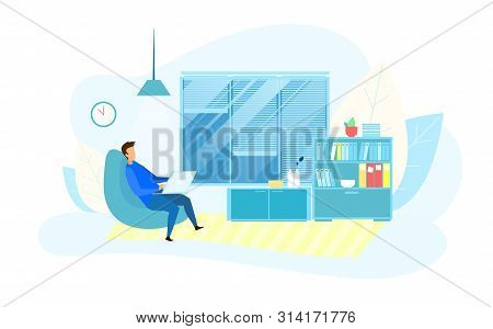 Flat Cartoon Businessman Character Working On Laptop Overtime In Modern Technology Office Late Night