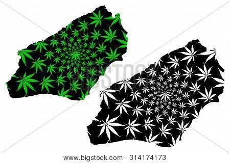 Zonguldak (provinces Of The Republic Of Turkey) Map Is Designed Cannabis Leaf Green And Black, Zongu