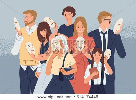 Group Of People Covering Their Faces With Masks Expressing Positive Emotions. Concept Of Hiding Pers