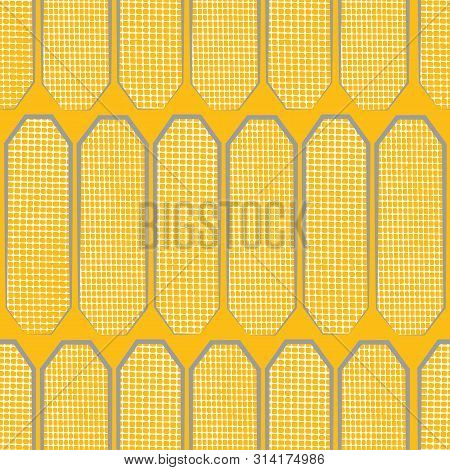 Hand Drawn Polygon Shapes With Varied White Waffle Texture. Seamless Geometric Vector Pattern On Saf