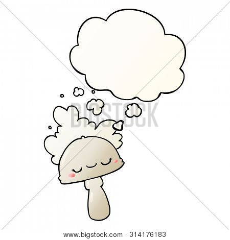 cartoon mushroom with spoor cloud with thought bubble in smooth gradient style