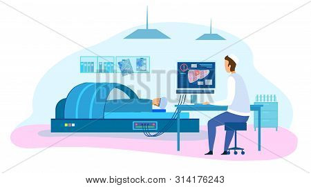 Flat Cartoon Doctor Make Diagnostic Test, Screen Liver, Look At Monitor In Clinic. Patient In X-ray