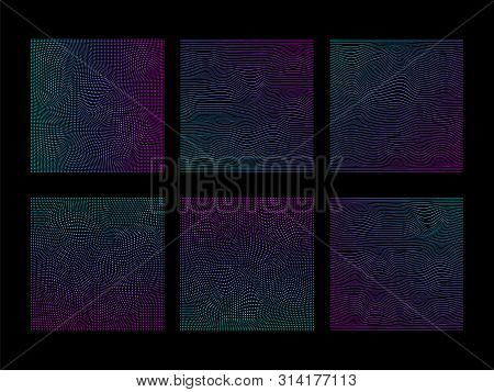 Set Of Glitched Square Of Particles And Lines In Neon Vivid Colors On Black Background.
