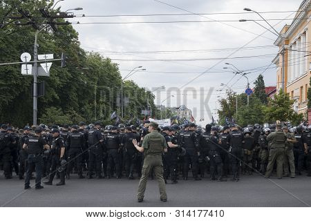 Kyiv Ukraine - June 23, 2019: Battalion Of Police Officers In Body Armors In The City