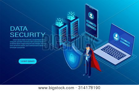 Banner With Hero Protect Data And Confidentiality On Computer And Mobile. Data Protection And Securi