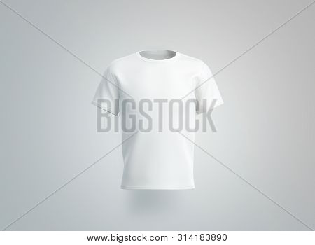 Blank White T-shirt Mockup. Isolated, Front View, 3d Rendering. Empty Cotton Tshirt With Sleeve Mock