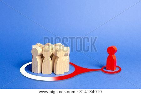 The Red Figure Of A Person Exerts Influence And Pressure On A Group Of People In Order To Change The