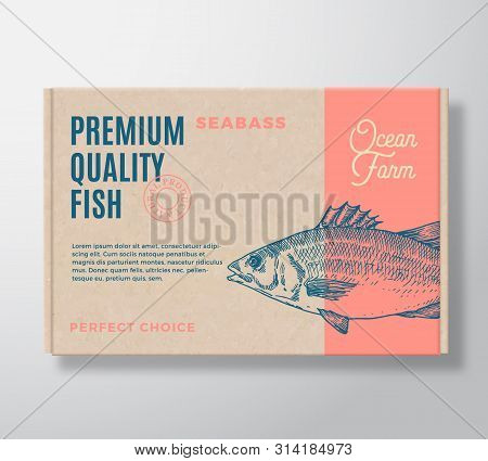 Premium Quality Fish Realistic Cardboard Box. Abstract Vector Packaging Design Or Label. Modern Typo