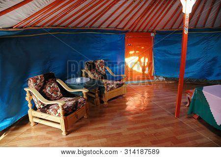 Gobi Desert, Mongolia - June 30, 2006: Ger Interior At The Tovshin Camp Nestled Below The Stunning S