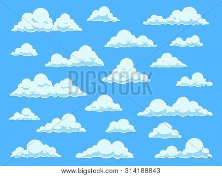 Cartoon Sky Clouds. Cloudscape In Blue Sky Panorama, Different Shapes Of White Clouds, Isolated Vect