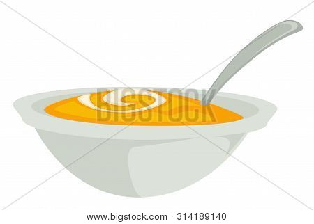 Pumpkin Soup Or Mash In Bowl With Spoon Isolated Dish