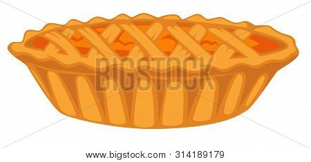 Pumpkin Open Top Pie Isolated Dish Vegetable Filling