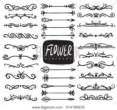 Flower Ornament Dividers. Ornamental Divider And Sketch Leaves Ornaments, Decorative Arrows, Drawn V