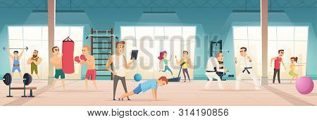 Gym Interior. Inside Of Fitness Center Workout Sport Simulators Lifestyle Body Ball Bicycle For Card