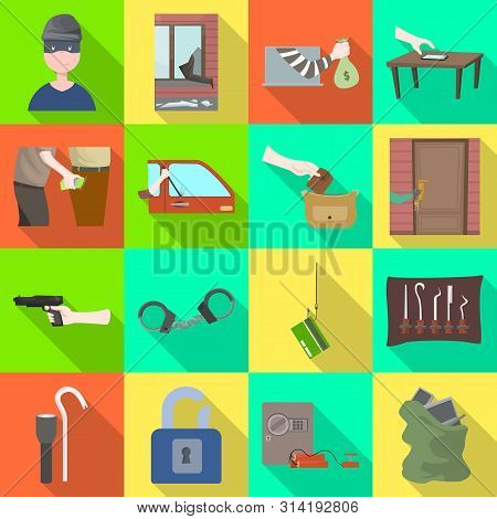 Isolated Object Of Crime And Steal Icon. Set Of Crime And Villain Stock Symbol For Web.