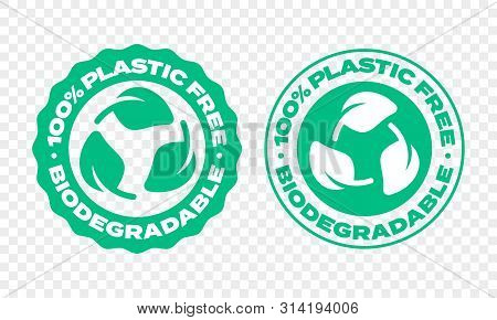Biodegradable Plastic Package Label. Vector Compostable And Bio Recyclable Eco Friendly Green Leaf S