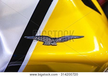 Belgrade, Serbia - March 23, 2019: Detail Of Moto Guzzi Motorcycle At Belgrade, Serbia. Moto Guzzi I