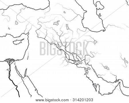 World Map Of The Tigris & Euphrates Valley: Mesopotamia, Assyria, Babylonia, Sumer (sennaar/canaan),