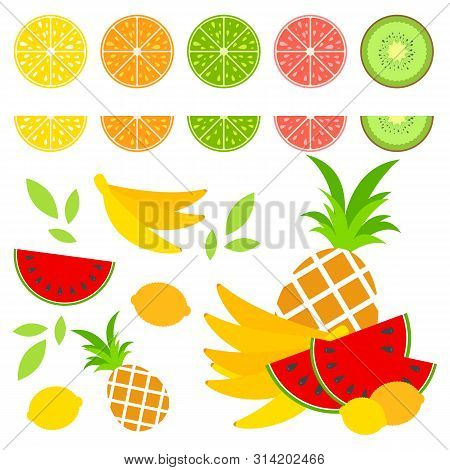 A Set Of Colored Isolated Halves Of Mouth-watering Fruits. Juicy, Bright, Delicious Tropical Food. L