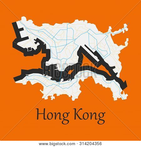 Flat Icon In Form Of Hongkong Continent, Geography, Graphic,