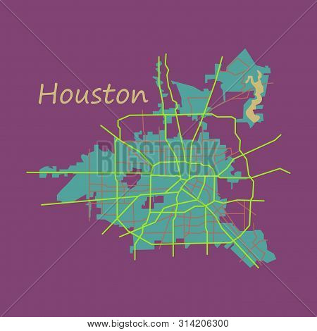 Flat Map Houston City. Texas Roads Continent, Geography, Graphic,