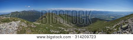 Wide Panoramic View With Top Of Baranec Peak On Western Tatra Mountains Or Rohace Panorama. Sharp Gr