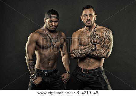 Tattoo Brutal Attribute. Men Brutal Attractive Hispanic Appearance Tattooed Body. Bearded Men Show T