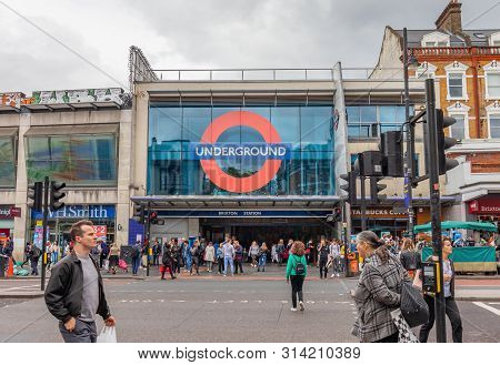 London, Uk - June 15th 2019 - Entrance To Brixton Underground Station On The Victoria Line