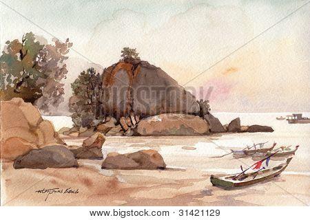 beach scene watercolor