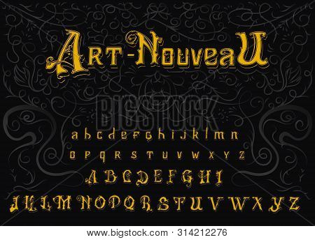 Victorian Alphabet In Vintage Style. Antique Old Font. Typeface In Gold Colors, Editable And Layered