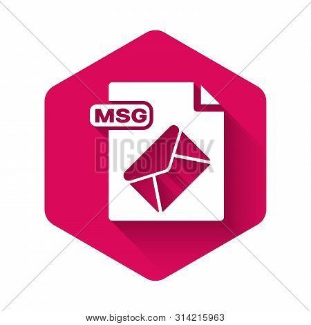 White Msg File Document. Download Msg Button Icon Isolated With Long Shadow. Msg File Symbol. Pink H